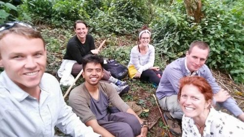 the group taking a lunch break from gorilla trekking