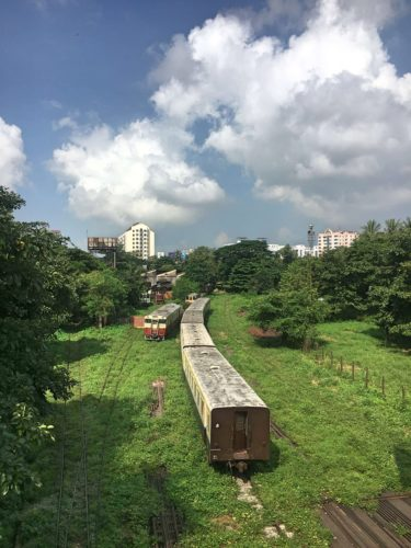 abandoned train in Yangon