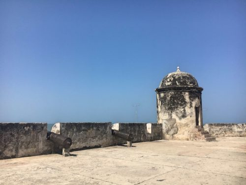 Cannons on the city walls of Cartagena