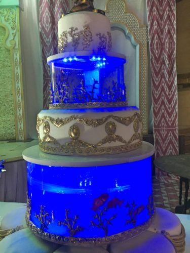 wedding cake with tiers of fish tank