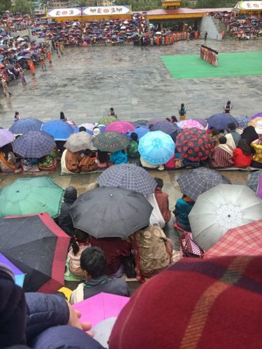 lots of umbrellas due to the rainy festival