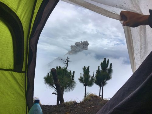 View from the tent on Acatenango volcano